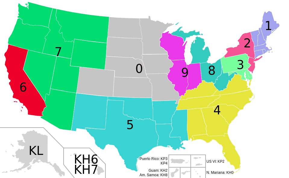 US Call Sign Areas 2021