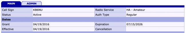 FCC ULS License Expiration